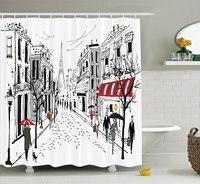 파리 장식 샤워 커튼 세트 그림 오래된 프랑스어 보행자 상점 나무