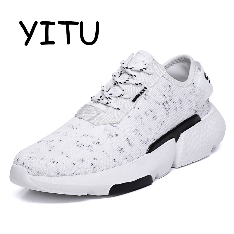 YITU Men's Breathable Mesh Running Shoes Tennis Man Red White Sports Sneakers Trainning Shoes Walking Jogging Shoes Brand 39 48