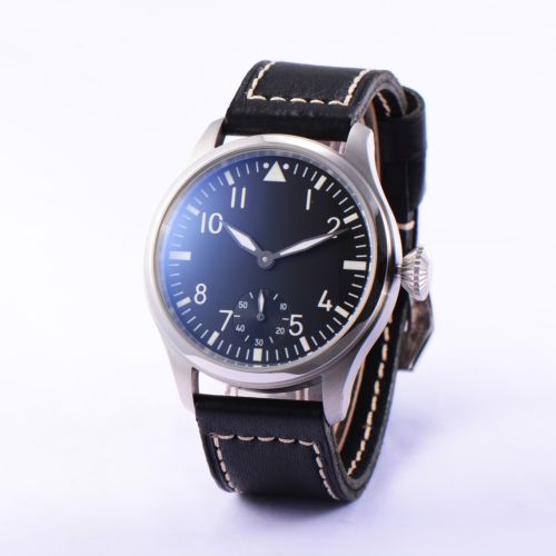 47mm Parnis ST 6498 Hand Winding Movement Men's Casual Watch Small Second цена и фото