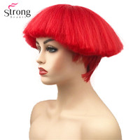 StrongBeauty Short Bob Synthetic Wig Shroom hairstyle Red Bowl haircut Red Black Blonde White Wigs