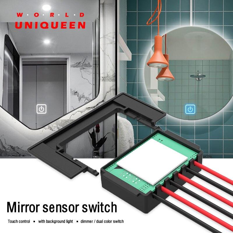 Commutateur de commande de capteur tactile pour la lumière intelligente de miroir, lampe de miroir de salle de bains de bricolage, charge de DC12V 36 W, mode de commutateur, gradateur, mode de CCT