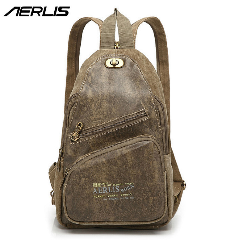Online Shop AERLIS Men Small Canvas Leather Messenger Shoulder Backpack  Travel Military Single Strap Sling Bag Satchel Chest Pack Bags 1097  e5fa63cb6591c