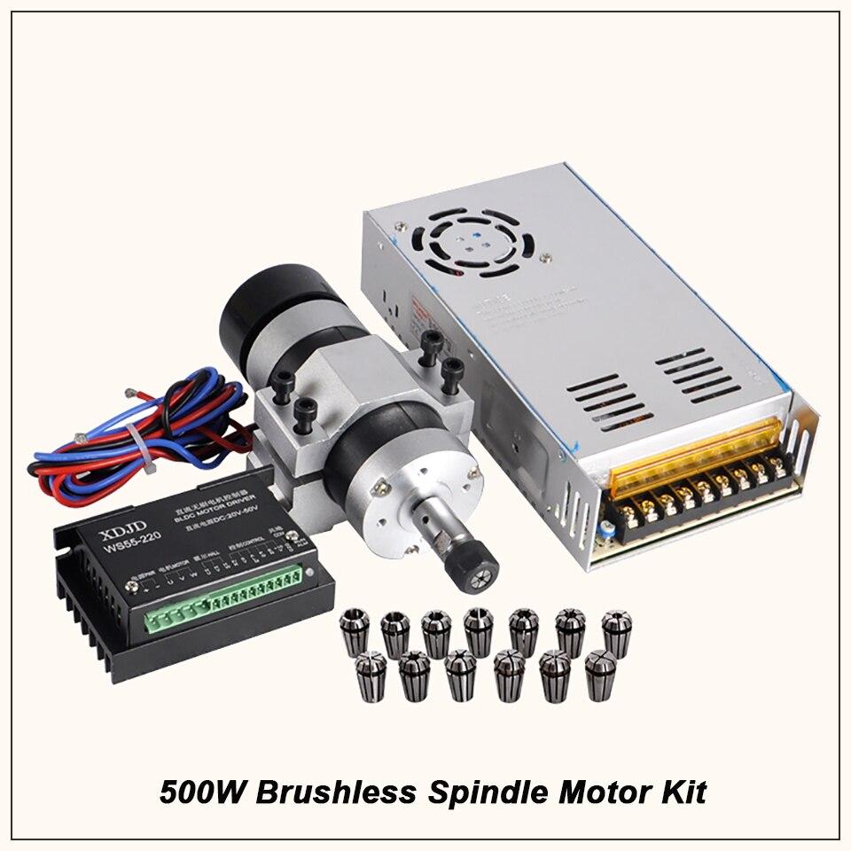 500 W CNC Eixo Brushless DC Motor Spindle 55 MILÍMETROS Braçadeira Stepper Motor Driver Fonte de Alimentação 13 pcs ER11 pinça Chuck