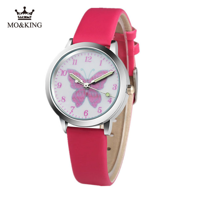 butterfly Kids Watches For Girls Children's Watches Cartoon Baby Watch Leather Kids Girl Watch Clock relogio infantil reloj A1