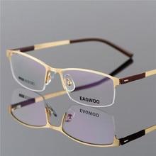 fdc38617e490f EAGWOO de marco de gafas mitad Rim gafas ópticas de los hombres gafas de  MARCO DE ORO gafas para la miopía leyendo templo de la .