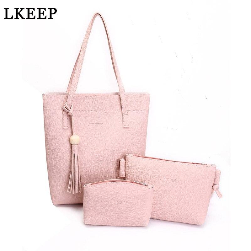 3Pcs/Sets Women Handbags PU Leather Shoulder Bags Large Capacity Casual Tote Bag Retro Wooden Beads Tassel Composite Purses Sac shoulder bag