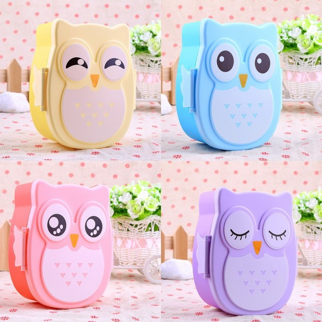 2 Layer Cartoon Owl Lunch Boxs Food Fruit Storage Container Portable