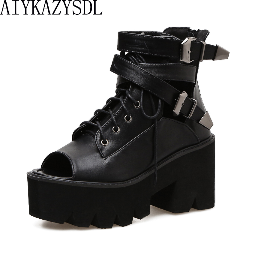 AIYKAZYSDL Women Gladiator Sandals Open Toe Ankle Boots Summer Bootie Gothic Buckle Thick Sole Platofrm Square High Heels Shoes aiykazysdl summer women sandals thick