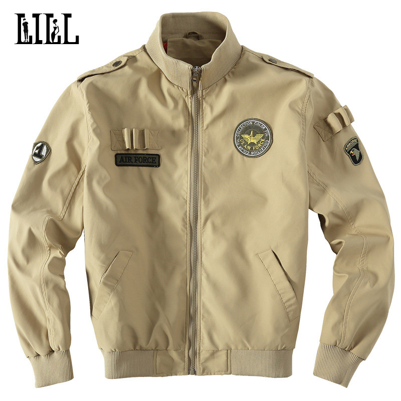 32e23c15e US $29.99 30% OFF|Embroidery AirForce One Male Veste Stand Collar Military  Style Bomber Jacket Men Khaki Airborne Sportwear Fighting Coat,UMA446-in ...