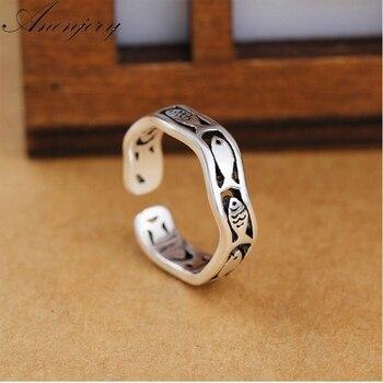 Anenjery pierścionki dla kobiet 925 Sterling Thai srebrny śliczne ryby fala otwarcie palec wskazujący pierścień S-R270