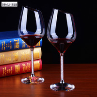 New Arrival Beveled Crystal Wine Glasses In Pair With Crystal Base And Moving Crystal Stem Wedding