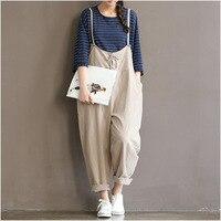 Vintage Cotton Linen Women Jumpsuits Full Length Loose Plus Size New Spring Black White Strap Belt
