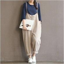 Vintage Cotton Linen Women Jumpsuits Full Length Loose Plus Size New Spring Black White Strap Belt Rompers