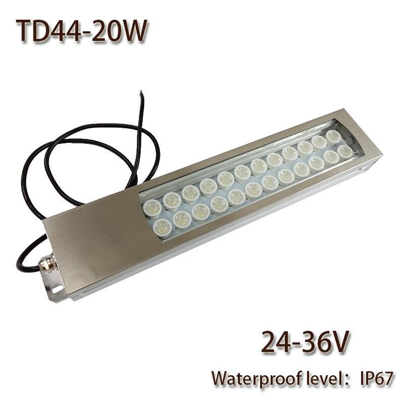 HNTD Led Panel Light 20W DC 24V/36V/48V Concentrating Metal LED Work Light TD44 CNC Machine Work Tool Lighting Waterproof IP67
