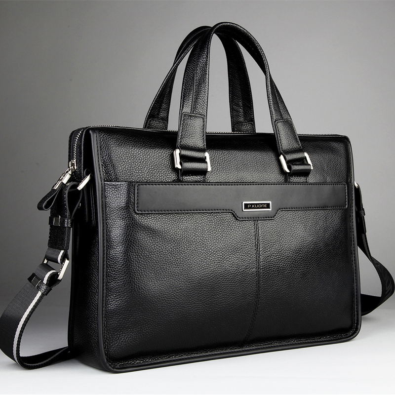 Image 4 - Genuine leather briefcase, laptop leather bag, for 15 inch notebook computer, 15.6 inch laptop bag-in Briefcases from Luggage & Bags