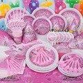 90 pcs Meninas Princesa bolo de Aniversário Fontes Do Partido de Aniversário Dos Miúdos Decoração Set Tema Dos Desenhos Animados de Luxo Festa de Aniversário Do Bebê Pacote