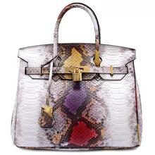 Marca de lujo de la Serpiente del Cuero Genuino bolsos de hombro de las mujeres bolsas de asas casual bolsa de mensajero hobos bolso con cerradura y llave
