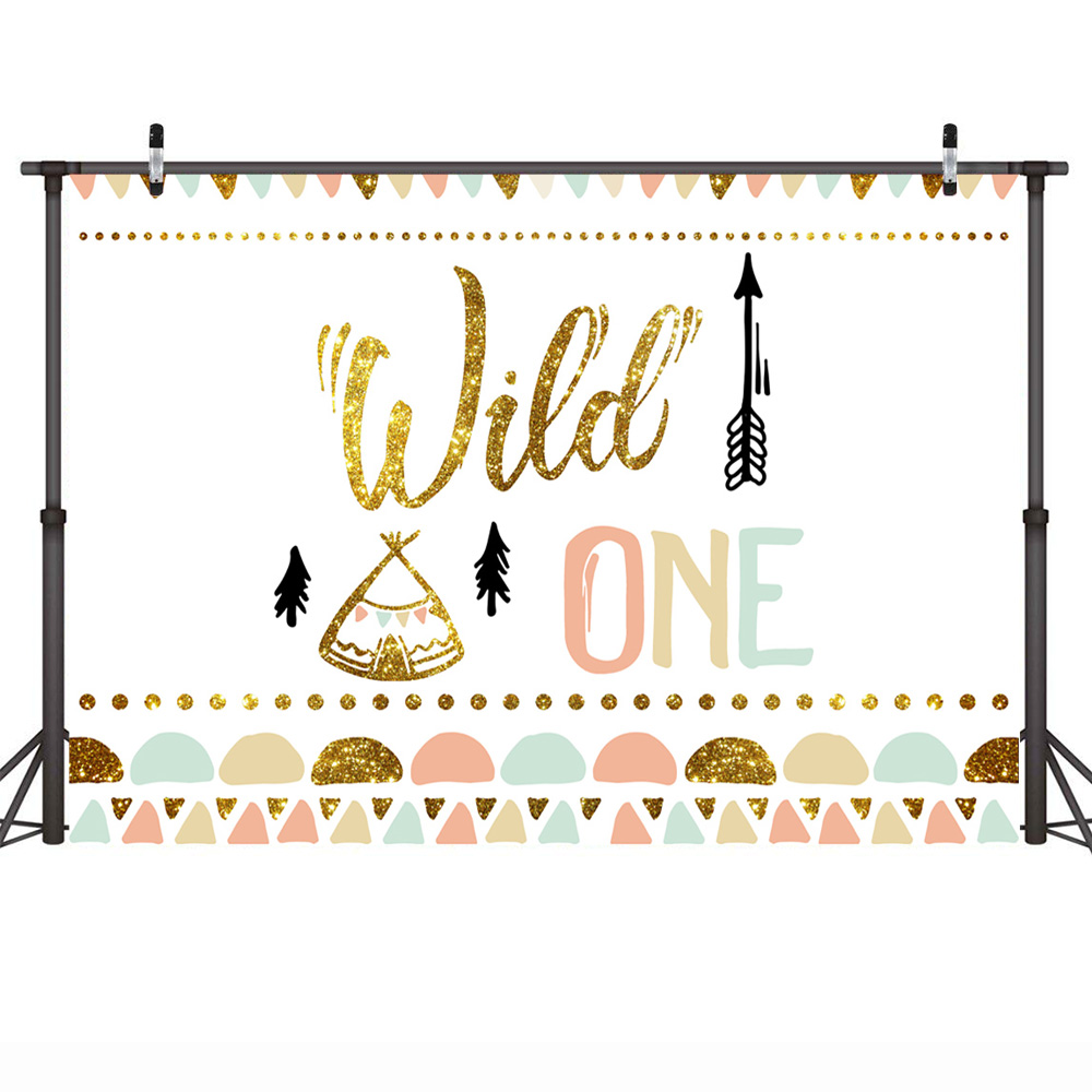 Image 2 - Mehofoto Wild One Birthday Photo Background Baby Party Banner Backdrop Newborn Gold Sequin Customized Backdrops for Studio Shoot-in Background from Consumer Electronics