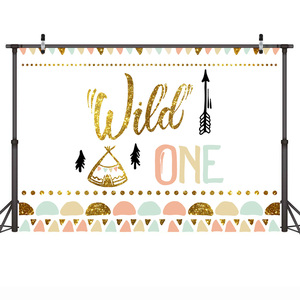 Image 2 - Mehofoto Wild One Birthday Photo Background Baby Party Banner Backdrop Newborn Gold Sequin Customized Backdrops for Studio Shoot