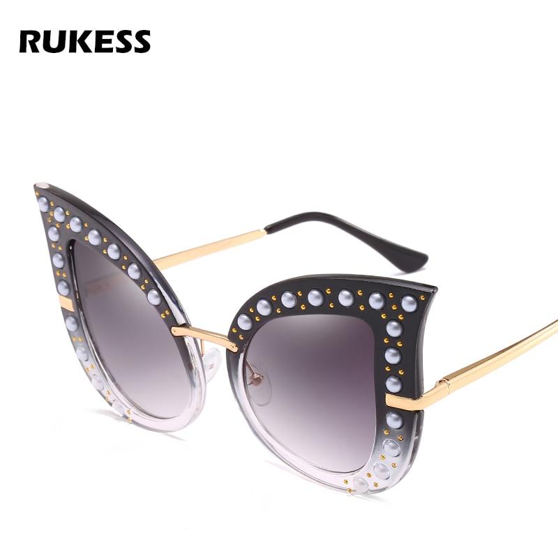 35fc73626c RUKESS 2018 New Oversized Pearl Rivet Women Cat Eye Sunglasses Fashion Blue  Pink Green Ladies Gradient Lens Glasses UV400