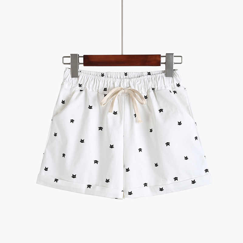 c91b59b5d ... DANJEANER 2018 New Cotton Women's Casual Shorts home-style cat's head  candy-colored ...
