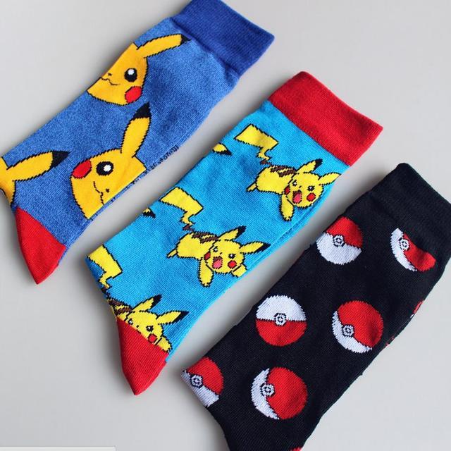Homens Mulheres Moda Pikachu em Pokemon Tubo de Outono Inverno Meias Quentes Meias de Algodão Nova