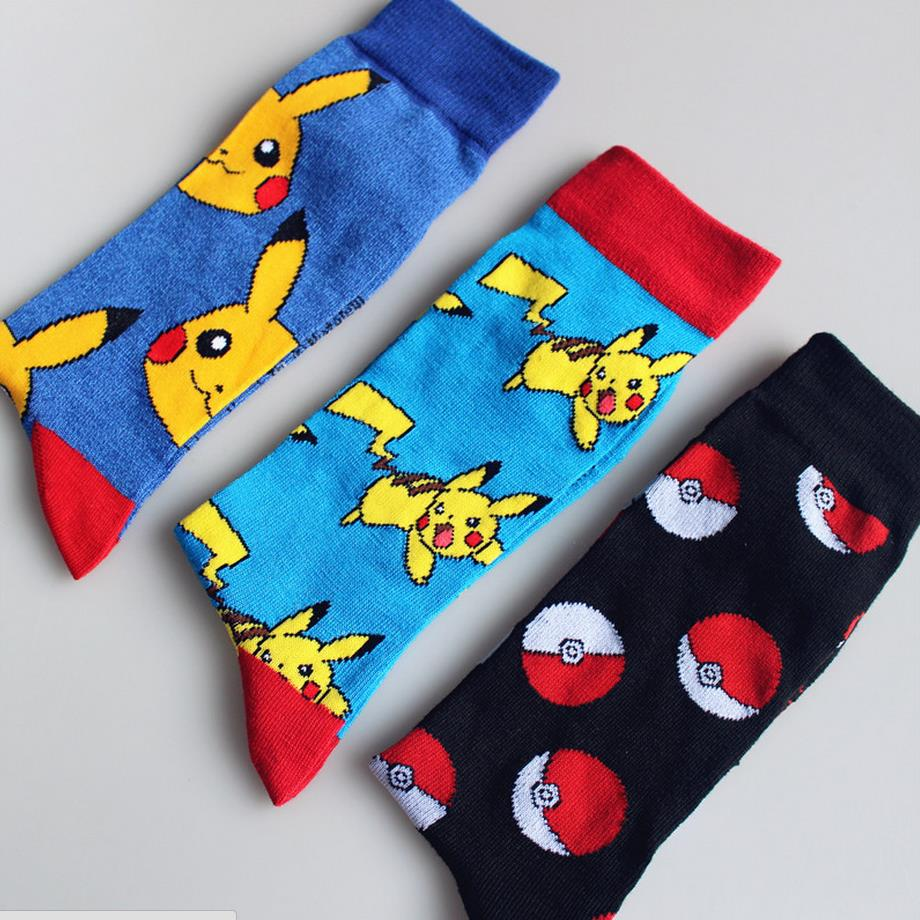 Men Women Fashion Pikachu in Pokemon Autumn Winter Tube Socks Warm Cotton Socks New