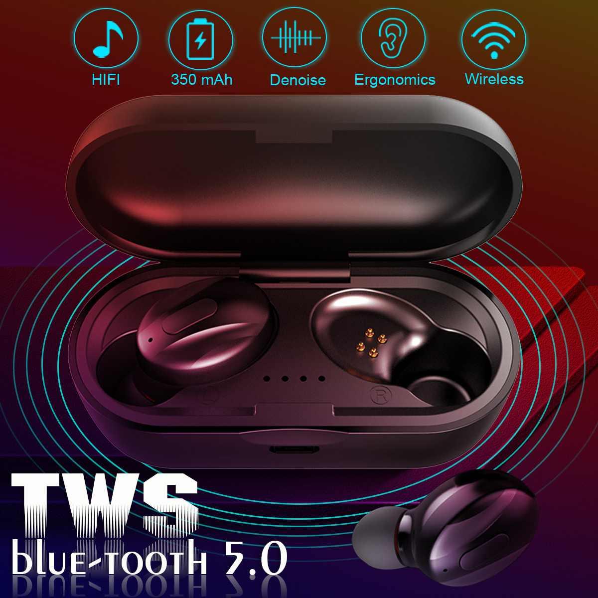 TWS bluetooth 5.0 Earphone Wireless Earbus Headset with Microphone Power Bank Waterproof Noise Cancelling Sport Earphones