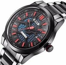 2017 Marca de Lujo Del Deporte Del Reloj de Los Hombres Reloj de Cuarzo de Energía Solar Eco-drive Movimiento Solar de Acero Inoxidable Macho Ocasional reloj Reloj