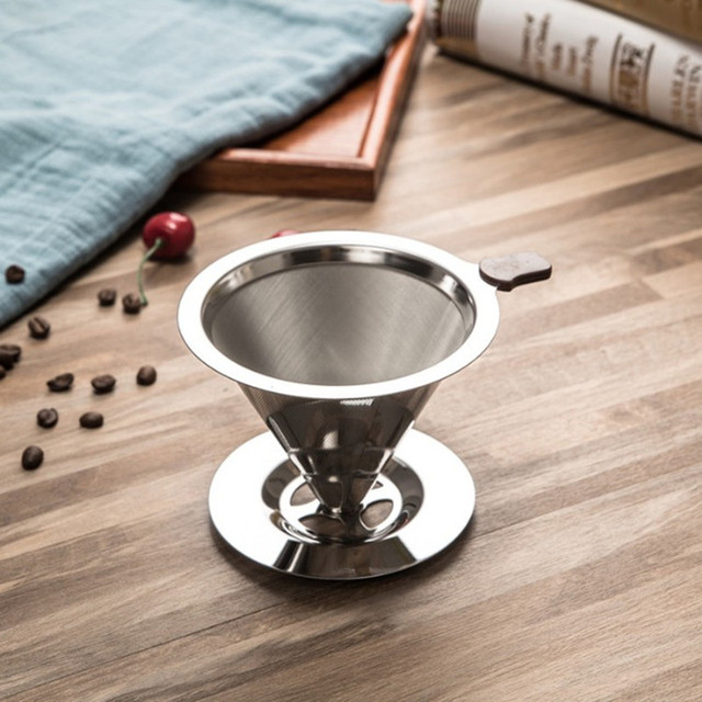 Reusable Coffee Filter Holder Washable Stainless Steel Brew Drip Coffee Filters for Espresso Manual Coffee Bean Mill Grinder