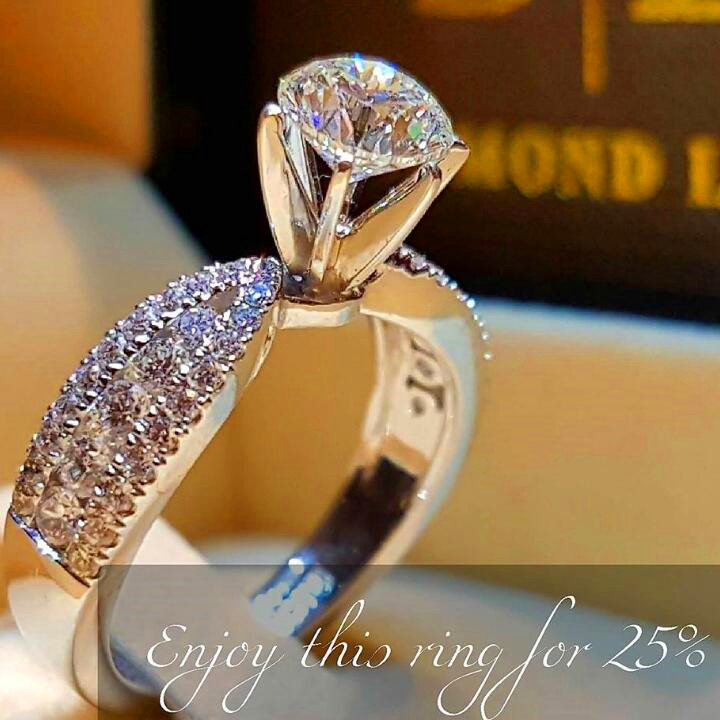 Stone Ring Jewelry Crystal White Zircon Promise Round-Style 925-Silver Female Women Simple