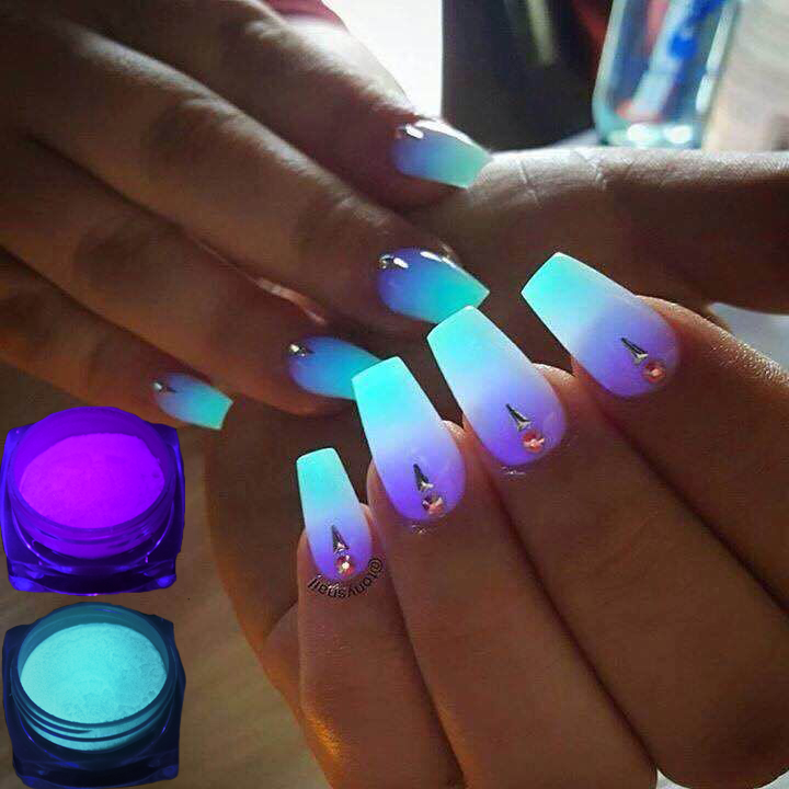 1 Neon Caixa De Fósforo Em Pó Prego Pó Glitter 10 Cores pó de Pigmento Luminoso Fluorescente Em Pó Prego Glitters Glow In The escuro