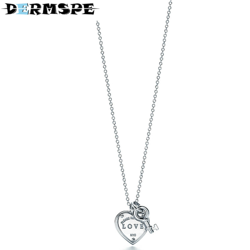 Trendy Heart & Key Necklace Brand 925 Streling Silver Pendant Charm Women Necklace Jewelry Nightmare Before Christmas trendy solid color heart pendant necklace for women