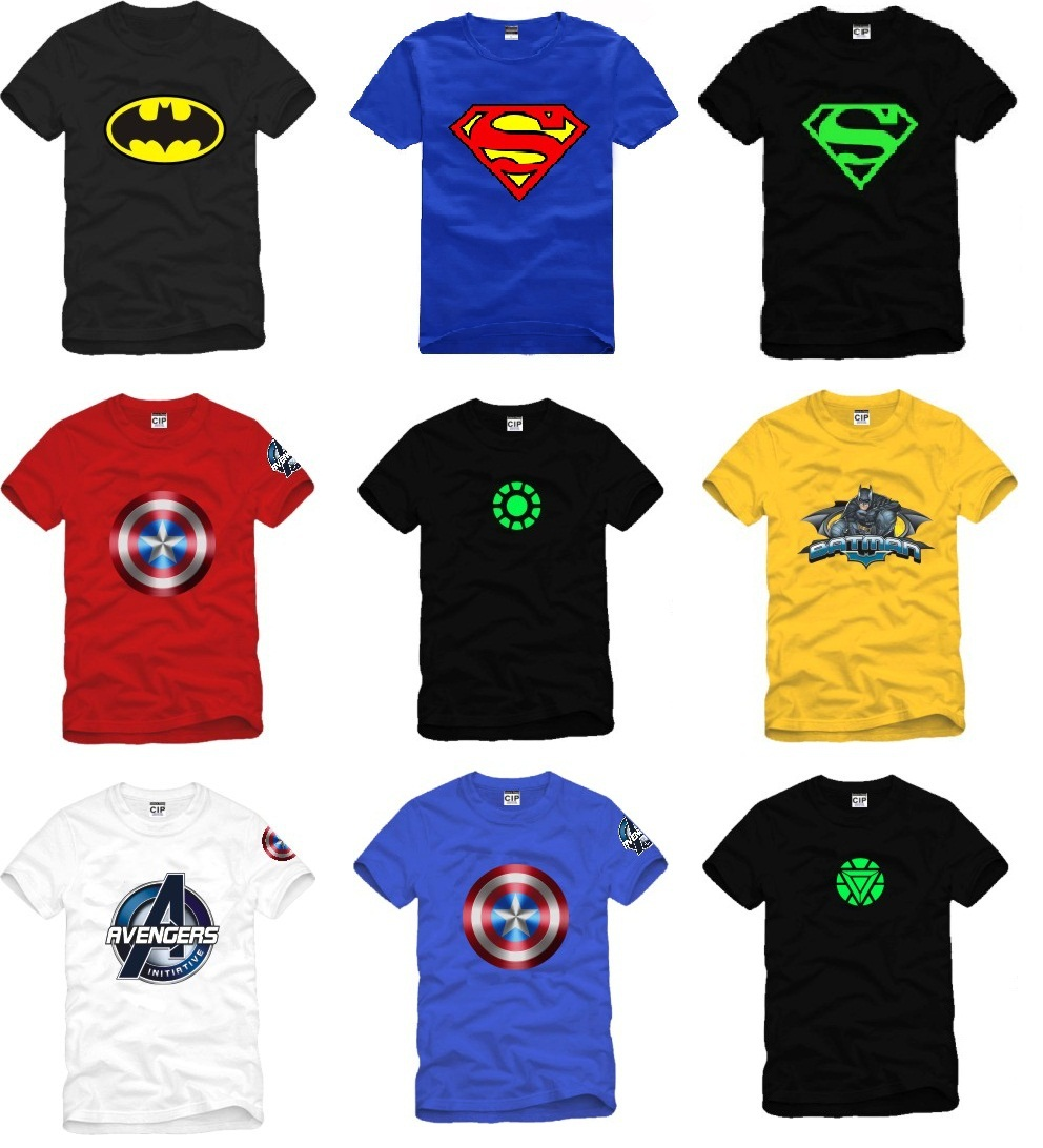 2pcs lot superhero collection t shirt short sleeve t shirt. Black Bedroom Furniture Sets. Home Design Ideas