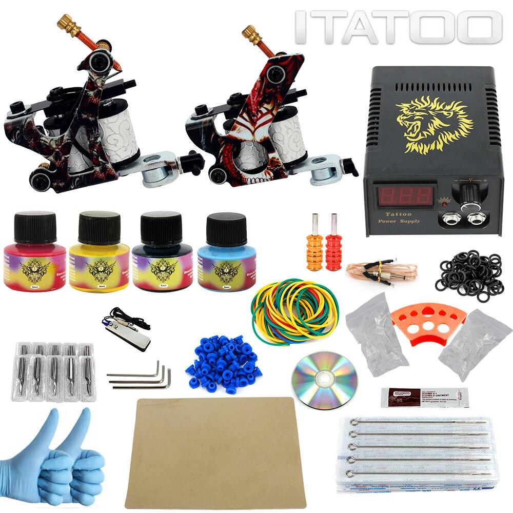 ITATOO Tattoo Kit 2 Coil Tattoo Machine Liner Shader Gun 4 5ml Tattoo Inks Power Supply Tattoo Set Clip Cord Foot Petal TK100002 wormhole tattoo complete starter tattoo kit 2 machine liner shader gun 10 color 5ml inks power supply tattoo needles cd002