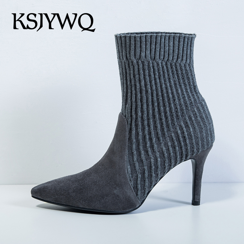 KSJYWQ Genuine leather and Wool Women Boots Slip-on Ankle Shoes 8 cm High Heels Pointed-toe Winter Pumps Boot Box Packing F1050 strange heel women ankle boots genuine leather elastic booties wedge shoes woman high heels slip on women platform pumps