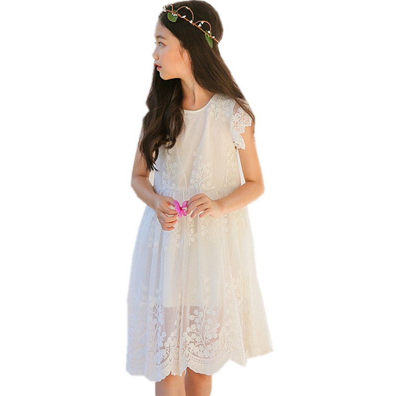 4 to 14 years kids & big girls summer lace tulle embroidery flower princess party dress children white elegant birthday dress