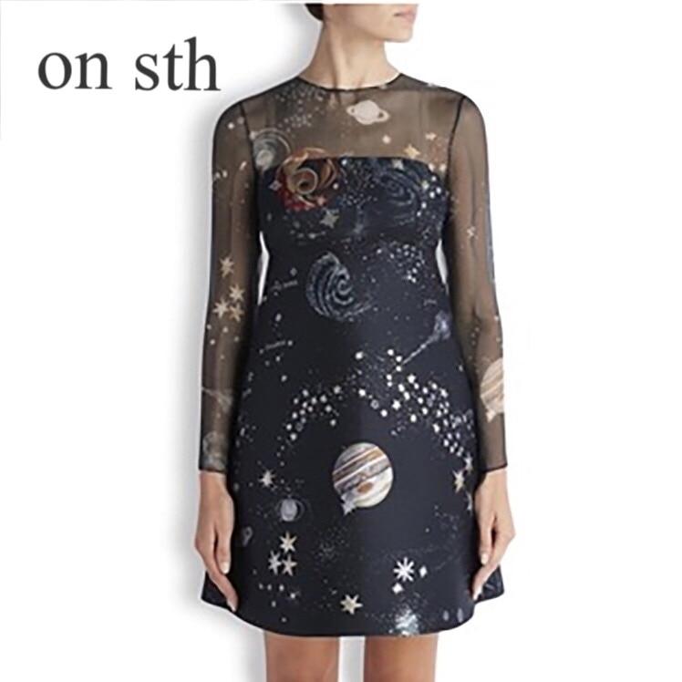 2018 Primavera Estate Nuove Donne di Usura Stella Modello Dress Stampa Prospettiva Chiffon Delle Donne di Modo Temperamento Pendolarismo Stampa