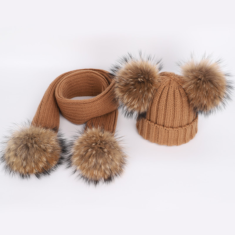 3a412426fc6 ... Raccoon Fur Pom Pom Hats Scarf Two-Piece Mask Boy and Girl Warm  Comfortable Adjustable ski beanie caps · image. additional image.  additional image