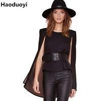 Haoduoyi New Fashion Women Tops Sexy Sheer Double Layer Chiffon Blouse Open Long Sleeve Black Cape