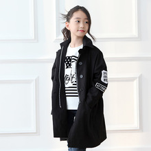 Girl spring jackets cotton bat sleeve trench coat children clothes windbreaker cardigan jackets and coats