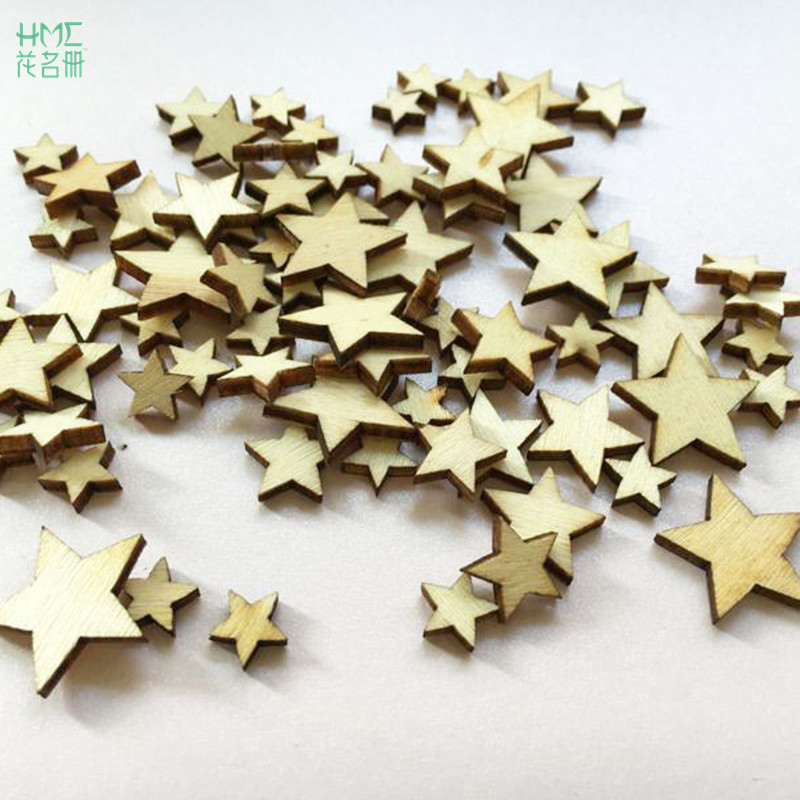 High Quality100Pcs Romatic Style Wood Star Chipboard Fashion Wooden Home Decorations DIY Christmas Party Scrapbooking