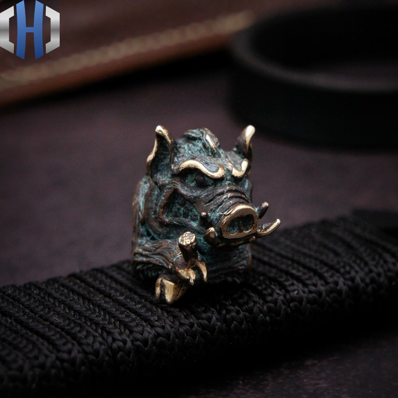 Original <font><b>Wild</b></font> <font><b>Boar</b></font> King <font><b>Knife</b></font> Beads Pendant Solid Umbrella Rope Pendant EDC Pendant Handmade DIY Outdoor Paracord Beads image