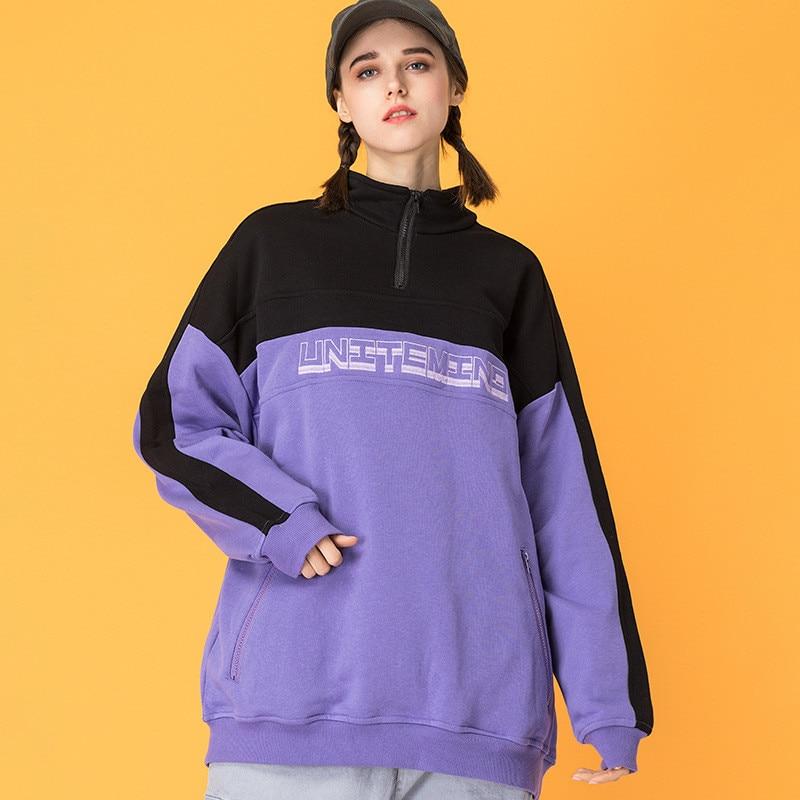 Sweat-shirt japonais Harajuku couleur contraste col montant pour femme urbain fille Streetwear Hip Hop quart Zip imprimé Sweatshirts