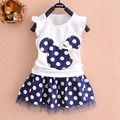 Monkids 2017 New Girls Skirts Pretty Princess Baby Girl Cartoon Skirts Princess Style Mini Skirts+Top Clothes Short Sleeve