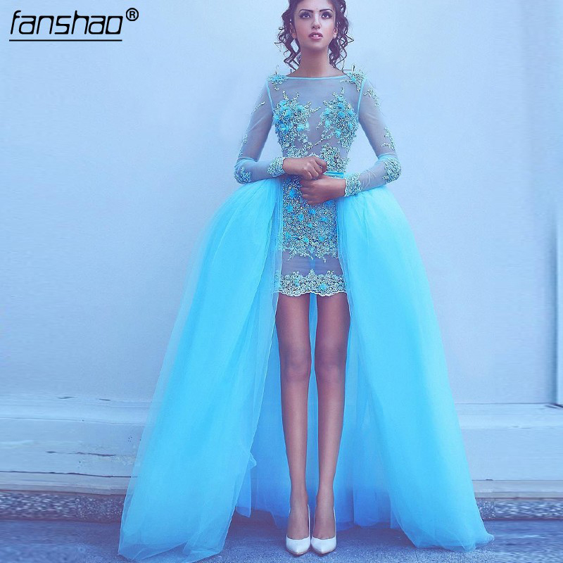 Formal Blue Muslim Evening Dresses Illusion Detachable Long Sleeves Flowers Beads Dubai Saudi Arabic Evening Gown Prom Dress