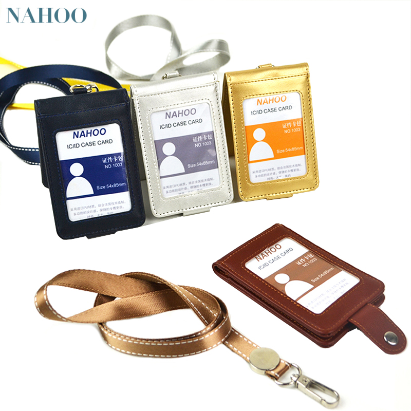 Nahoo Candy Color Identity Badge Holders Exhibition Staff Cards Lanyards Id Nurse Badge Holder Leather Name Tag Bank Credit Card new exhibition cards id badge holder name tag staff business card cover badge holders school office stationery supplies