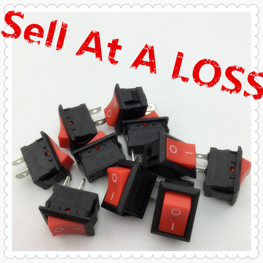 10pcs/lot RED 15*21mm SPST 2PIN ON/OFF G127 Boat Rocker Switch 6A/250V 10A/125V Car Dash Dashboard Truck RV ATV Home 10pcs ac 250v 3a 2 pin on off i o spst snap in mini boat rocker switch 10 15mm