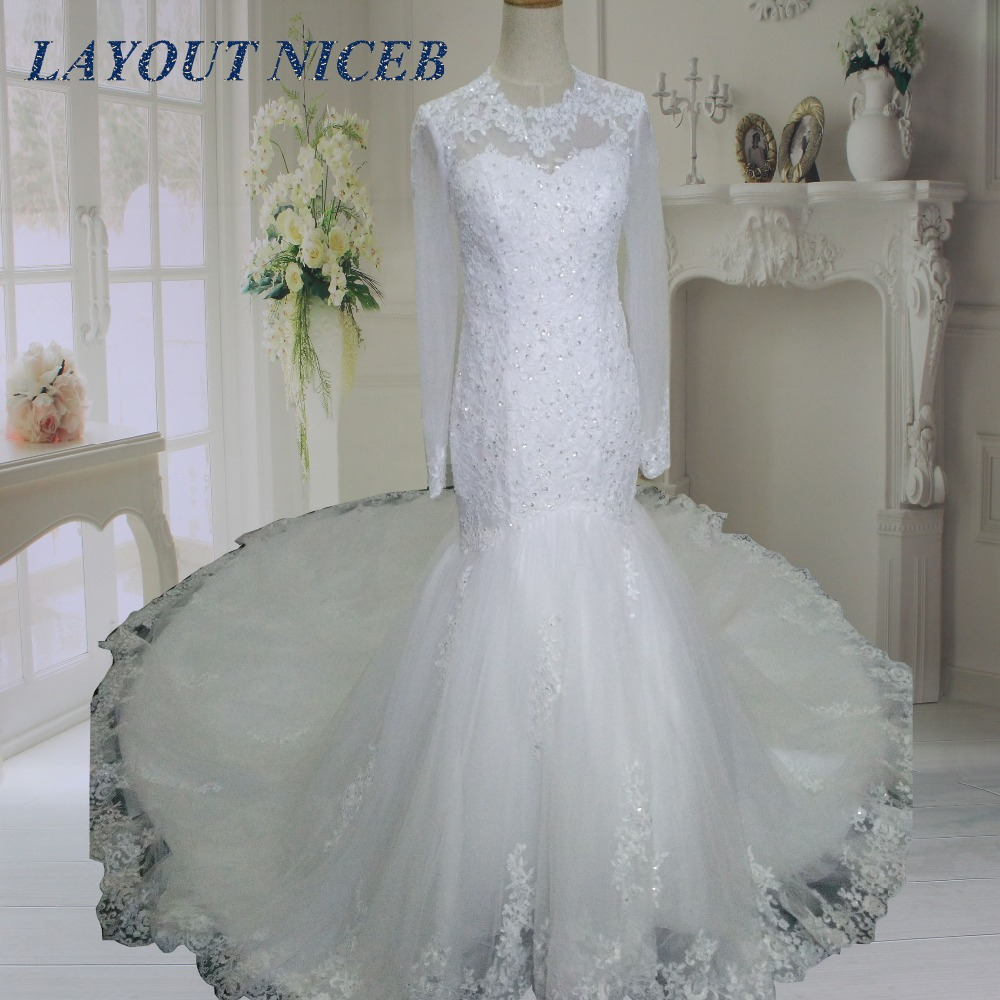 WBK002 Vestido de Noiva Vaina Mangas Largas Vestidos de Novia de ...