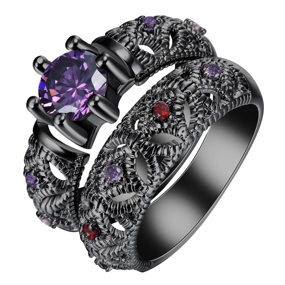 black gun Rings sets purple red pink zircon vintage new fashion